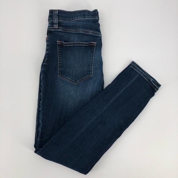 J. Crew Mid-Rise Skinny Stretch Dark Ankle Jeans